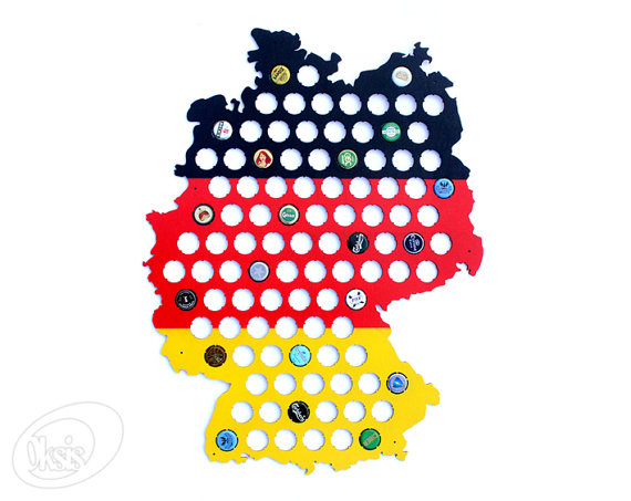Germany Beer Cap Map Made Of Painted Birch Plywood German Flag - Germany beer cap map