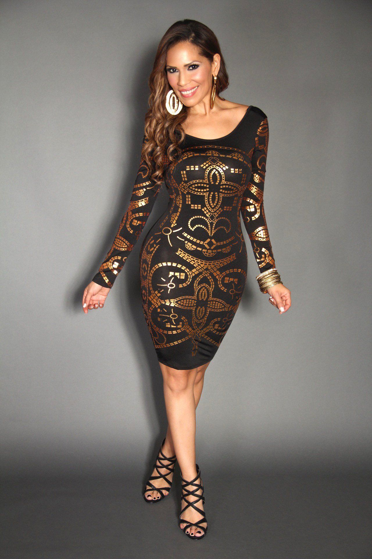 Gold Funky Print Long Sleeve Bodycon Party Dress Plus Size Available