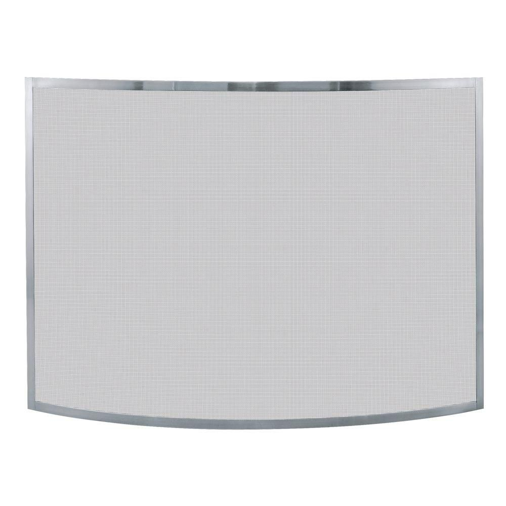 Fireplace Screen Home Depot Uniflame Curved Pewter Single Panel Fireplace Screen Family Room