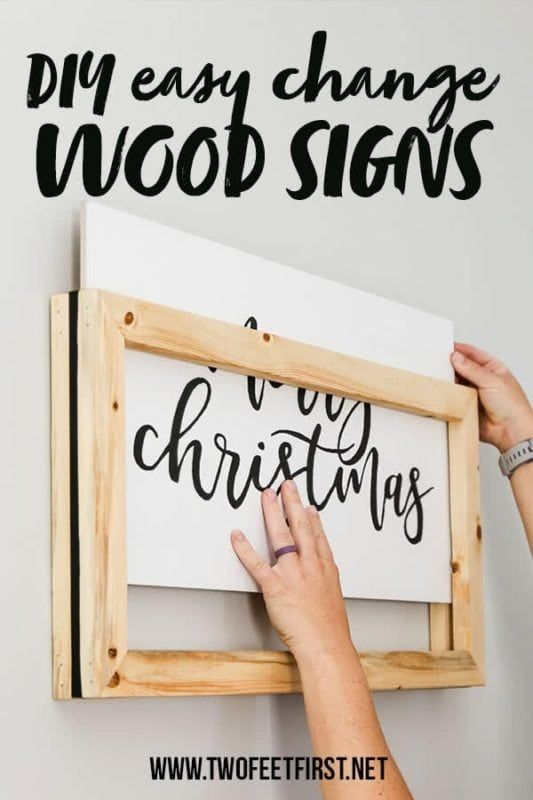Would you like a reversible framed wood sign? Well, how about something even better, an easy change frame for your wood signs. Easily change just the sign any season with this DIY tutorial. Plus, it will save you some storage space. #twofeetfirst #woodsign