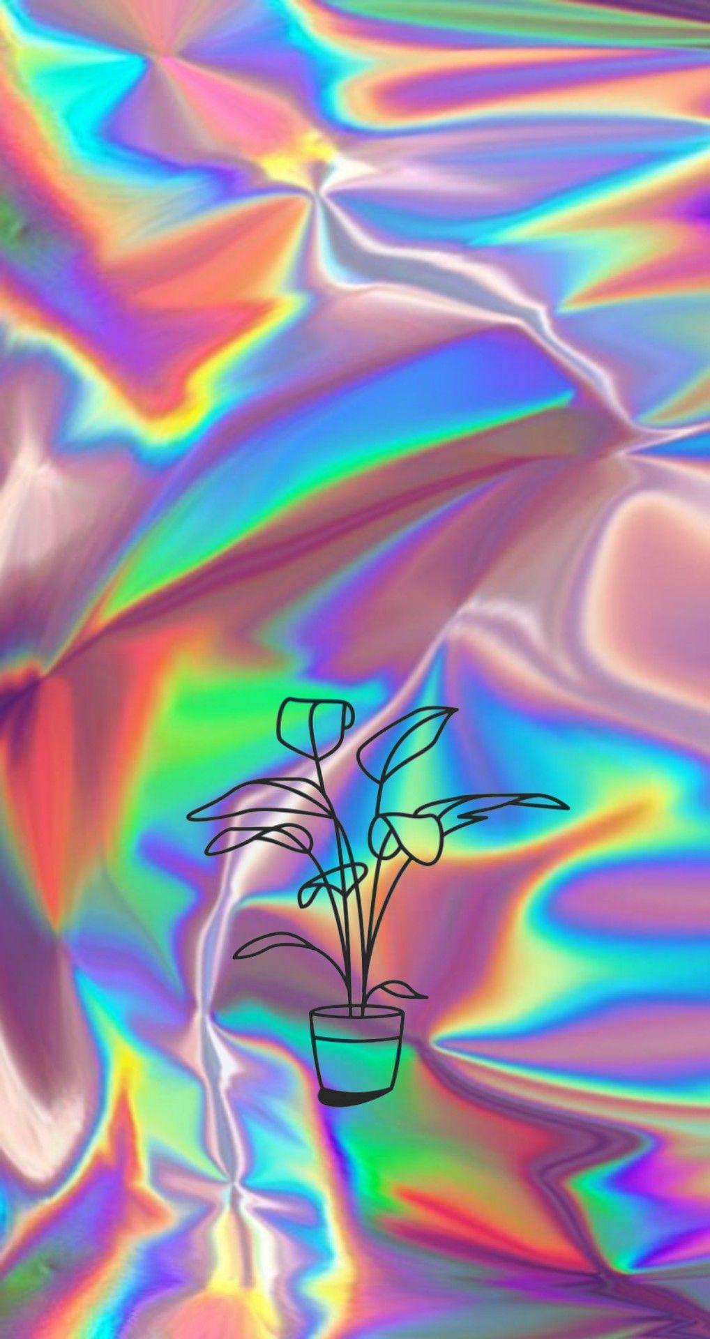 Aesthetics Wallpaper Backscreen Hologram Flower Plant Wallpaper Ponsel Papan Warna Latar Belakang