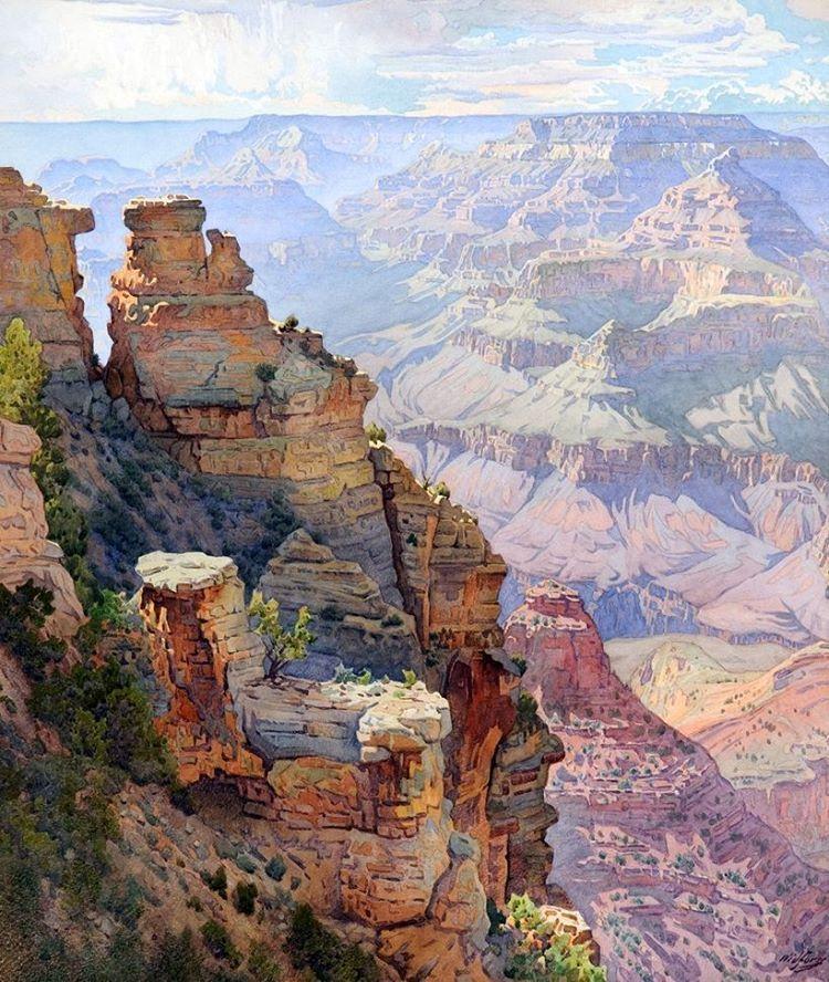 """Mi piace"": 17, commenti: 3 - Catmota (@catmotagallery) su Instagram: ""Yaki Point, Grand Canyon Gunnar Widforss (1879–1934) #art #southwest #grandcanyon #desert…"""