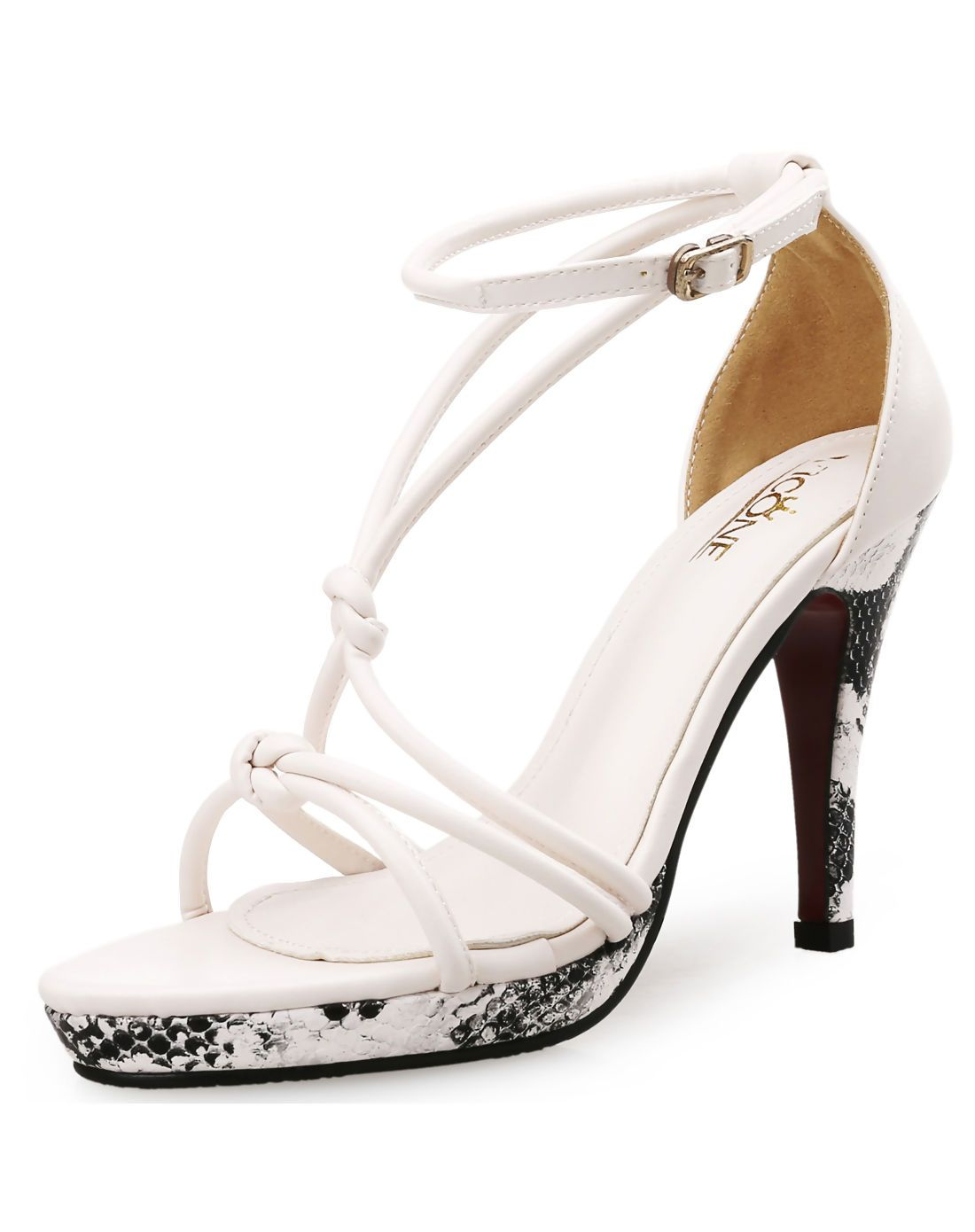 69fbbf0de7d5  AdoreWe  VIPme Sandals - VICONE White Snake Patent knot Ankle Strap High  Heel Sandals