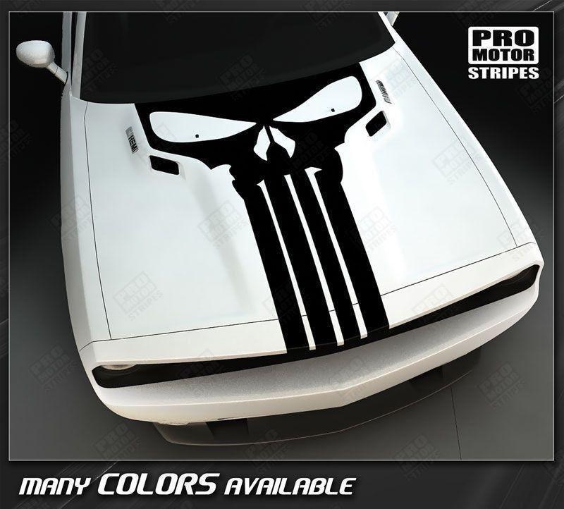 Choose Color Dodge Challenger 2008-2019 Punisher Skull Hood Stripe Decal
