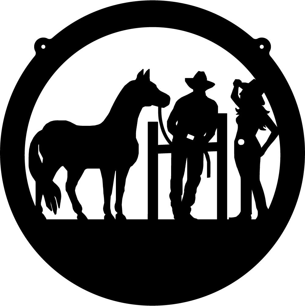 Tinkerbell silhouette cowboy cowgirl and horse circle for Cowboy silhouette tattoo