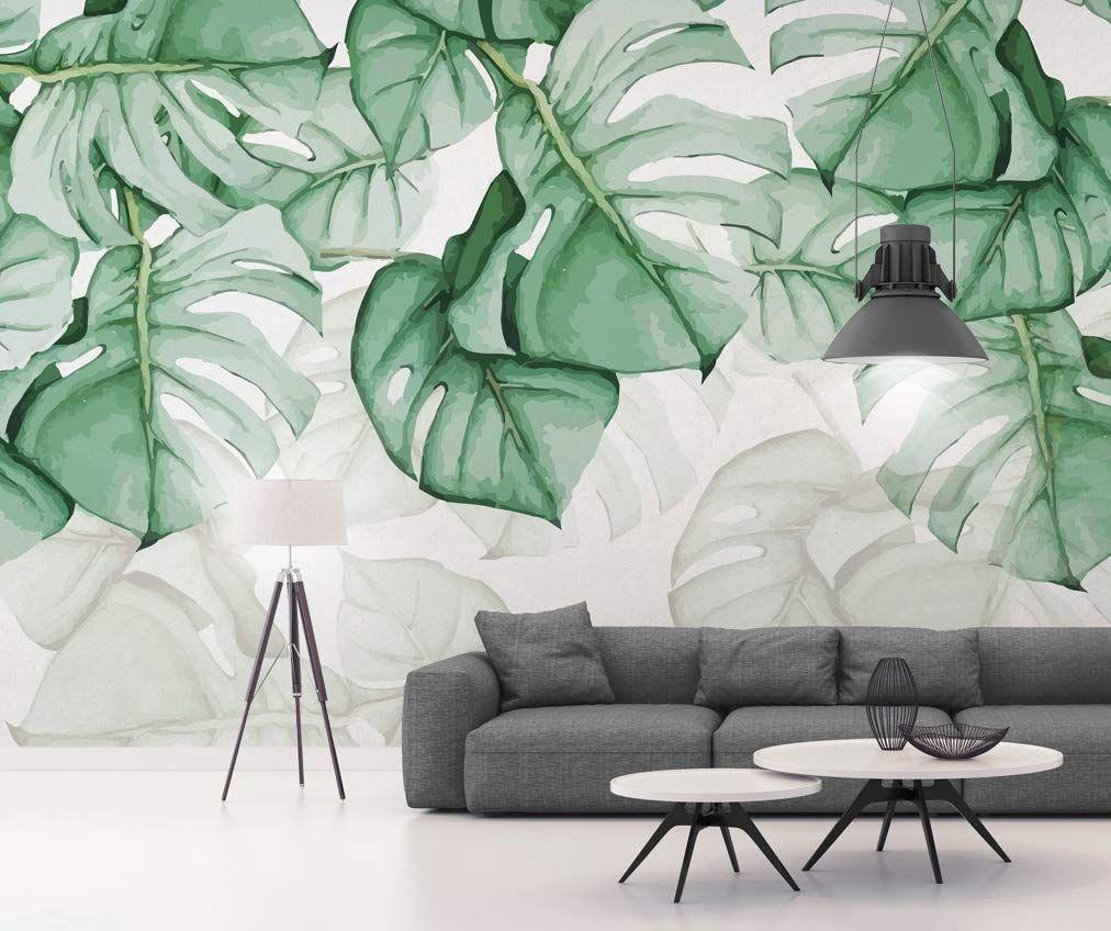 Amazon Com Murwall Leaf Wallpaper Palm Tree Wall Murals Trop