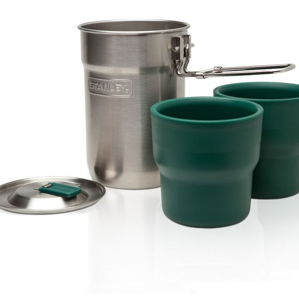 Stanley Cook Set - Includes one stainless steel single wall 24oz cooking pot and two 10oz insulated plastic cups. Pot cooks over a camp stove and features a vented lid to let steam escape. Pot's two-position handle extends for cooking and locks in place. All pieces dishwasher safe.