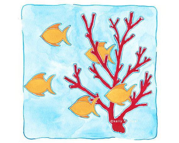 Beach Nursery Art Coral Reef Pennekamp 8 X 8 By Islandofblue 17 00 Beach Nursery Art Nursery Art Girl Nursery Art