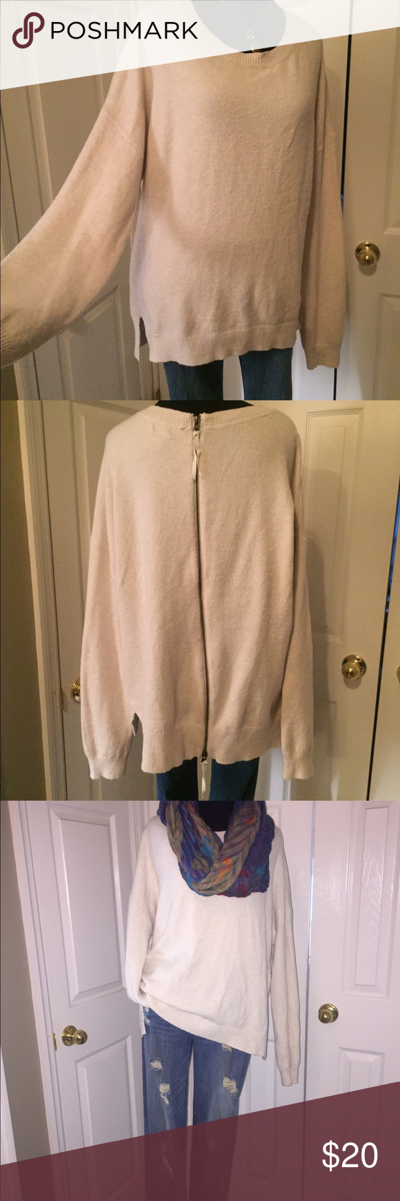 Hinge sweater Hinge cream sweater, size large, purchased at Nordstrom. Nice, soft cotton blend w/back zipper. Can be belted w/a skirt & boots or paired w/your favorite skinny jeans. Hinge Sweaters Crew & Scoop Necks