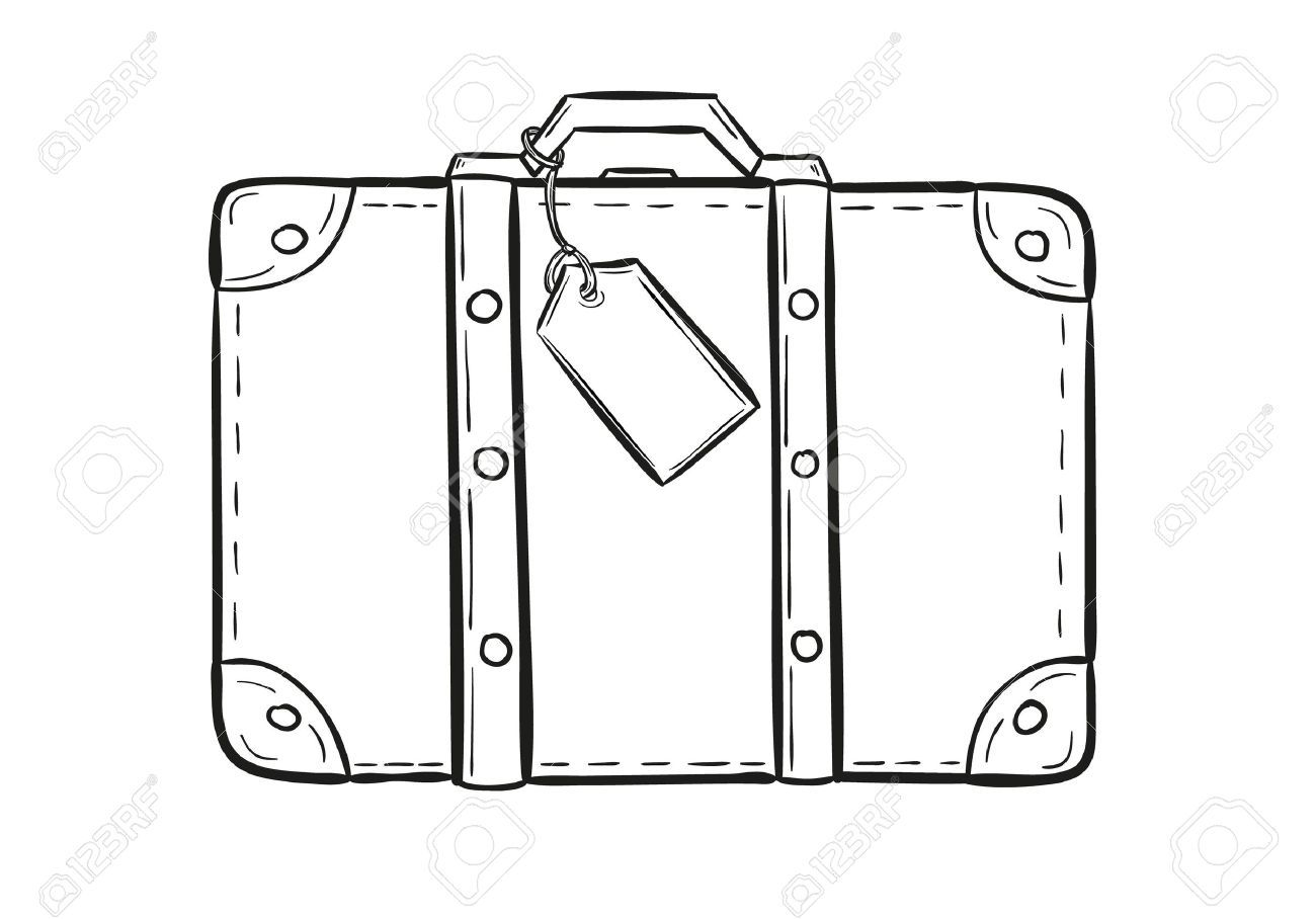 Sketch Of The Suitcase With Tag On White Background Isolated Illustration Affiliate Tag Suitcase Sketch Old Suitcases Suitcase Travel Tattoo Small