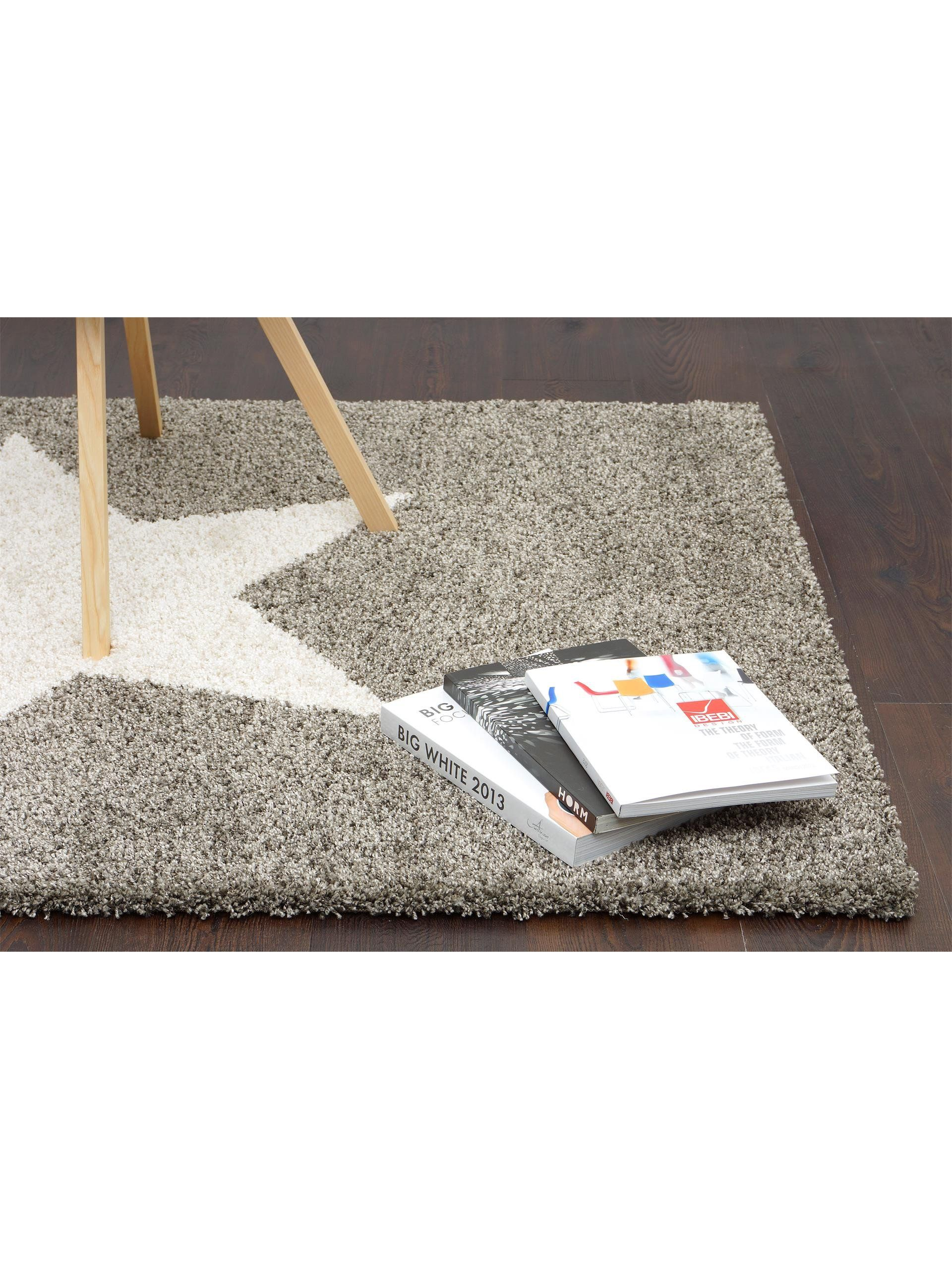 Hochflor Teppich Graphic Star 169 95 160x230 Benuta Alfombra Shaggy Pelo Largo Graphic Star