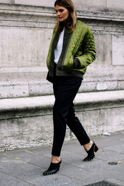 Jacket: tumblr green green bomber bomber top white top pants black ...