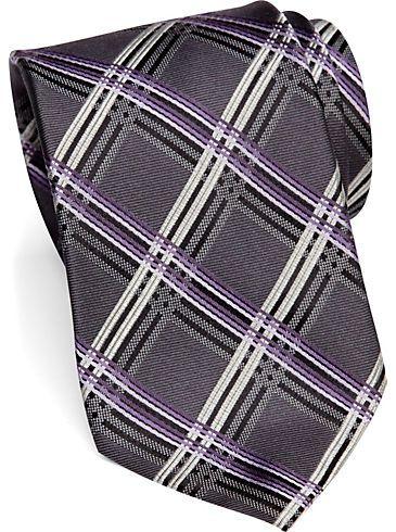 Modern Fit - Pronto Uomo Gray and Purple Bold Diamond Narrow Tie - Men's Wearhouse