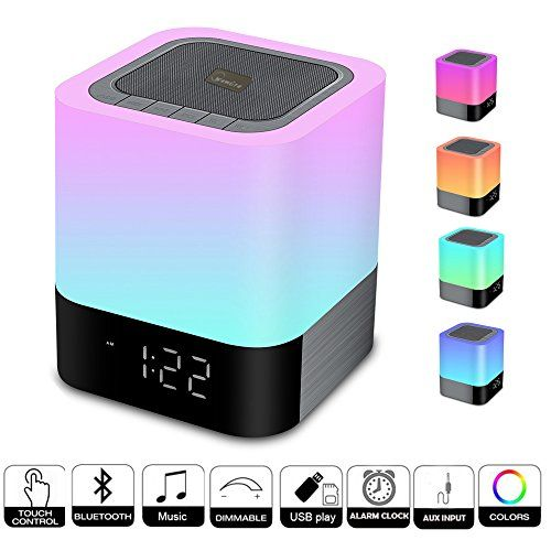 Wamgra Night Lights Bluetooth Speaker Touch Sensor Bedside Lamp Dimmable Warm Light Color Changing Bedside Lamp Mp3 Music Player Wireless Speaker With Bluetooth Light Wireless Speakers Portable Bluetooth Speaker