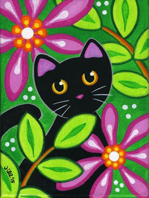 Black CAT in Tropical FLOWERS – Folk Art PRINT from Painting by Jill