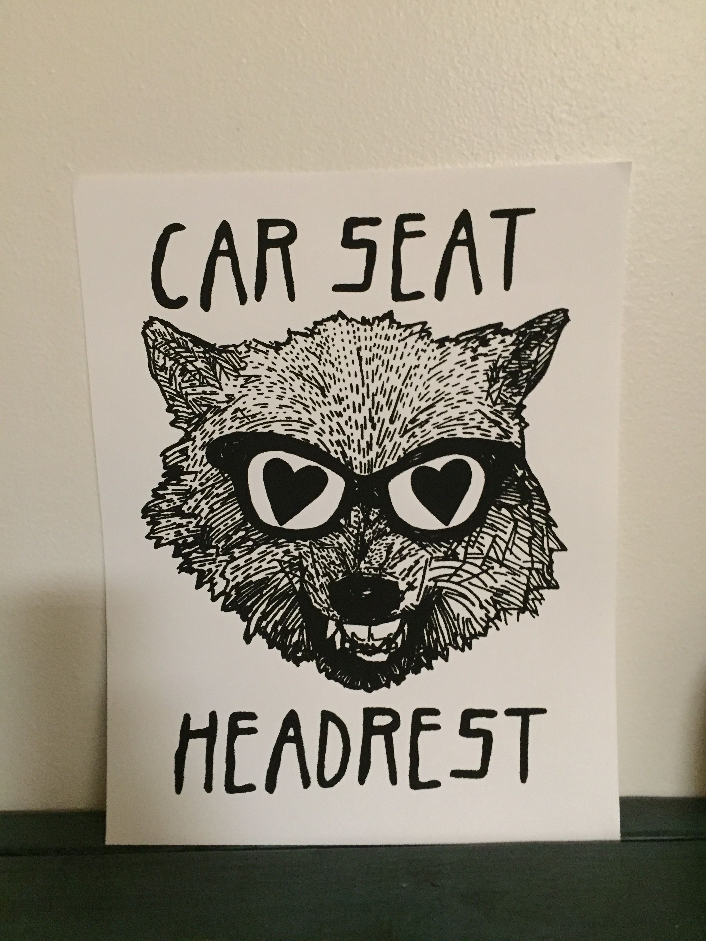Now you can add a handmade screenprinted Car Seat Headrest