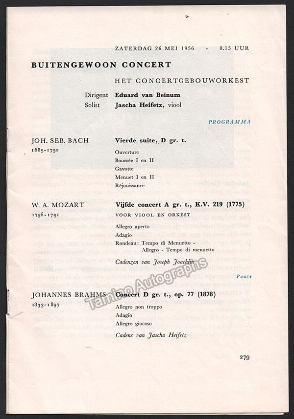 Heifetz Jascha  Concert Program Amsterdam   Products