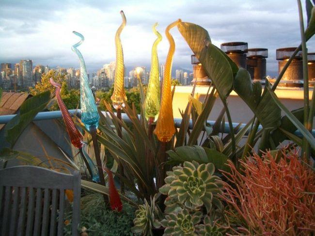 Patio Bereich » Garten Gestaltung Ideen \u2013 kräftige Farbakzente - markisen fur balkon design ideen
