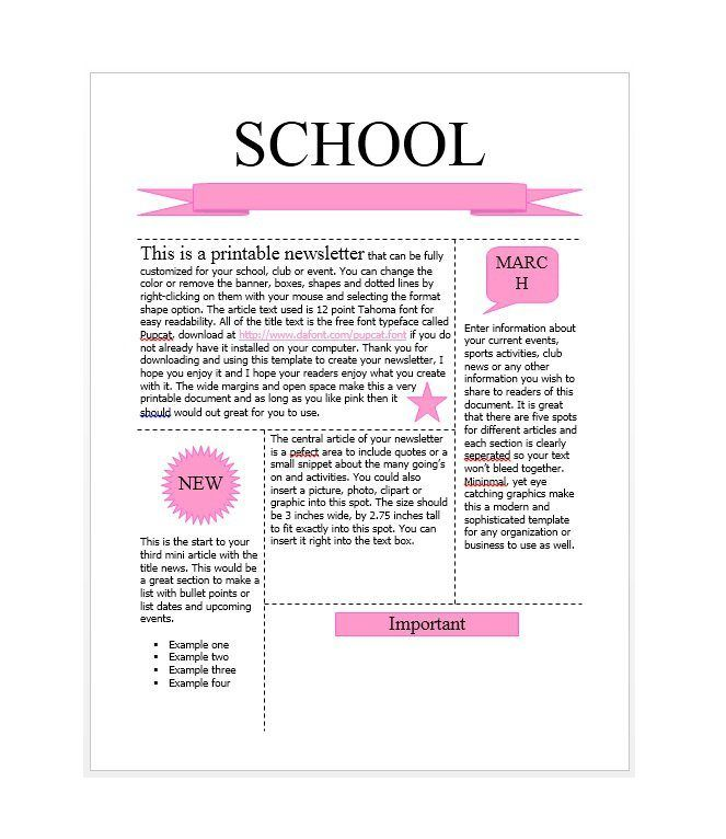 Free Newsletter Templates For Work School And Classroom  My