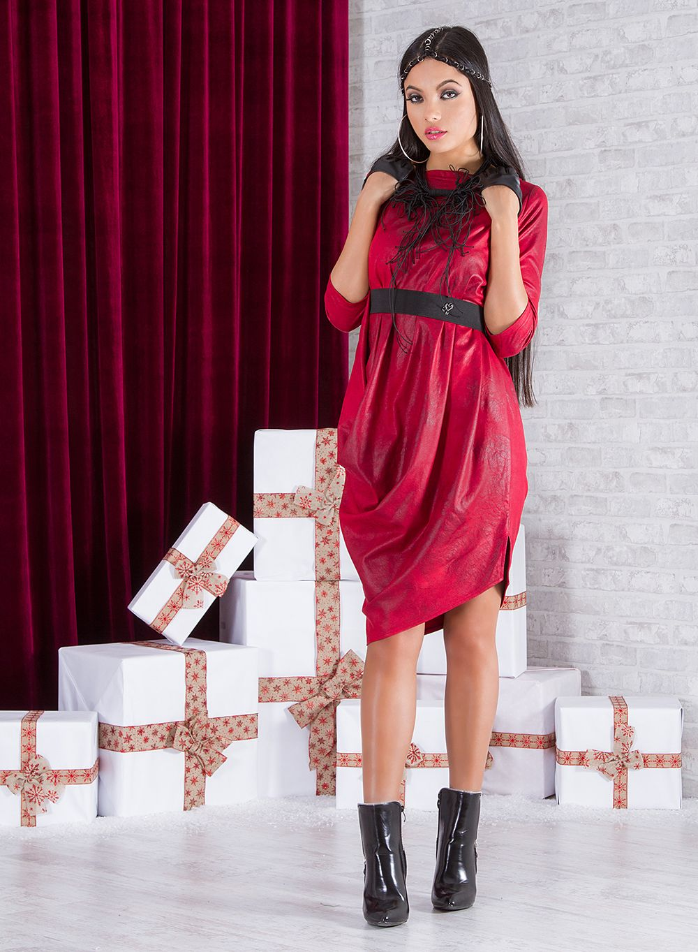 7a28353f9a1 Faux Leather Dress/ Red Leather Dress/ Asymmetrical Dress ...