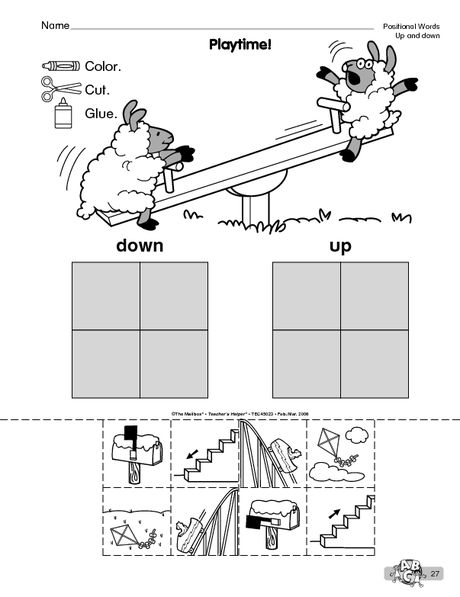 Playtime The Mailbox Kindergarten Worksheets Kindergarten Worksheets Printable Preschool Worksheets Positional words worksheets for preschool