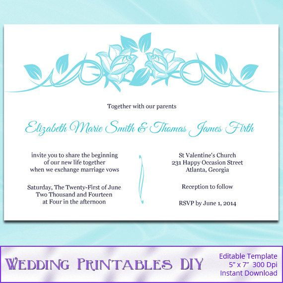 DIY Printable Wedding Invitation Templates by WeddingPrintablesDiy