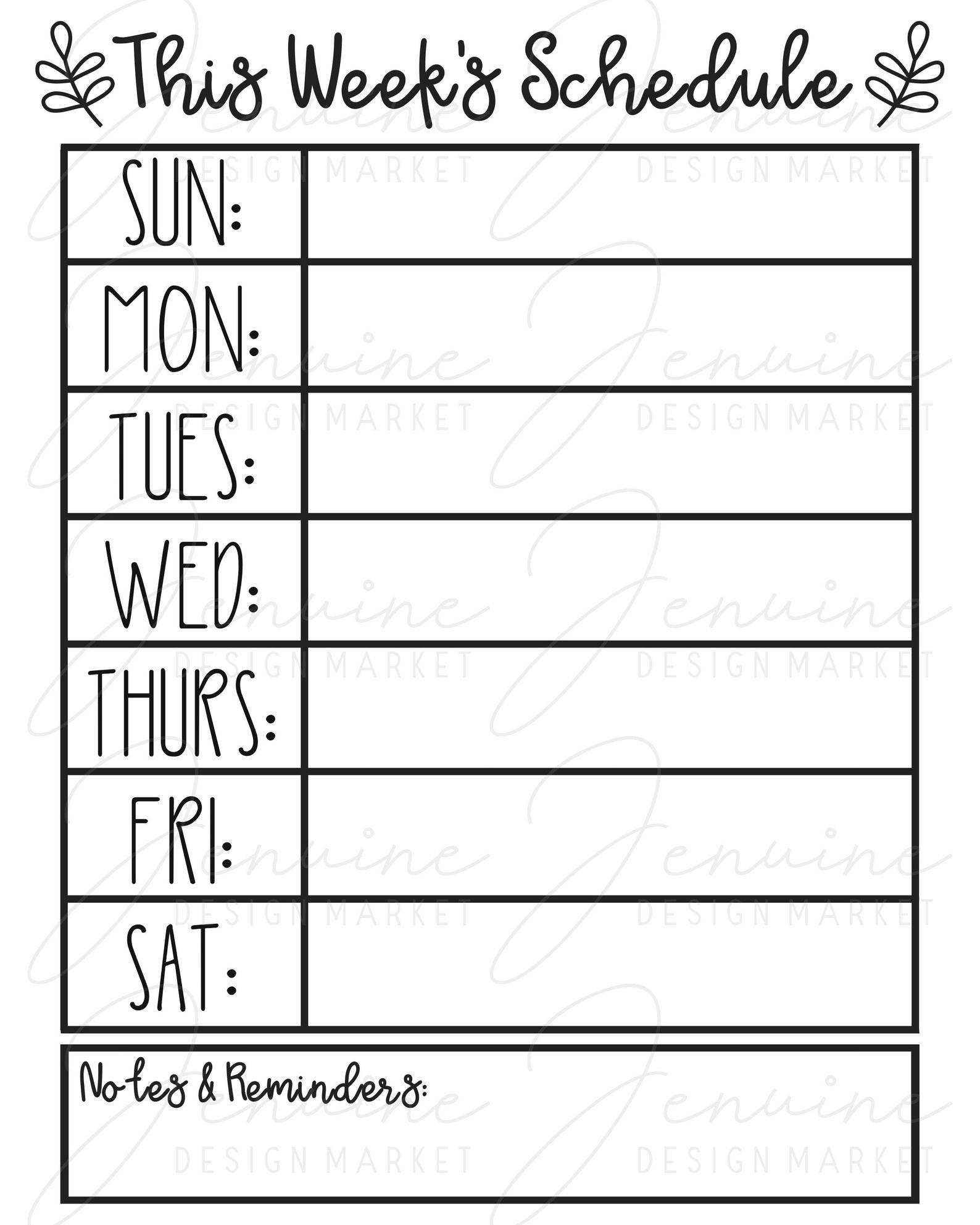 This Week S Schedule Svg Weekly Planner Printable Command Center Printable In 2021 Weekly Planner Printable Weekly Calendar Template Schedule Design Make your own weekly calendar