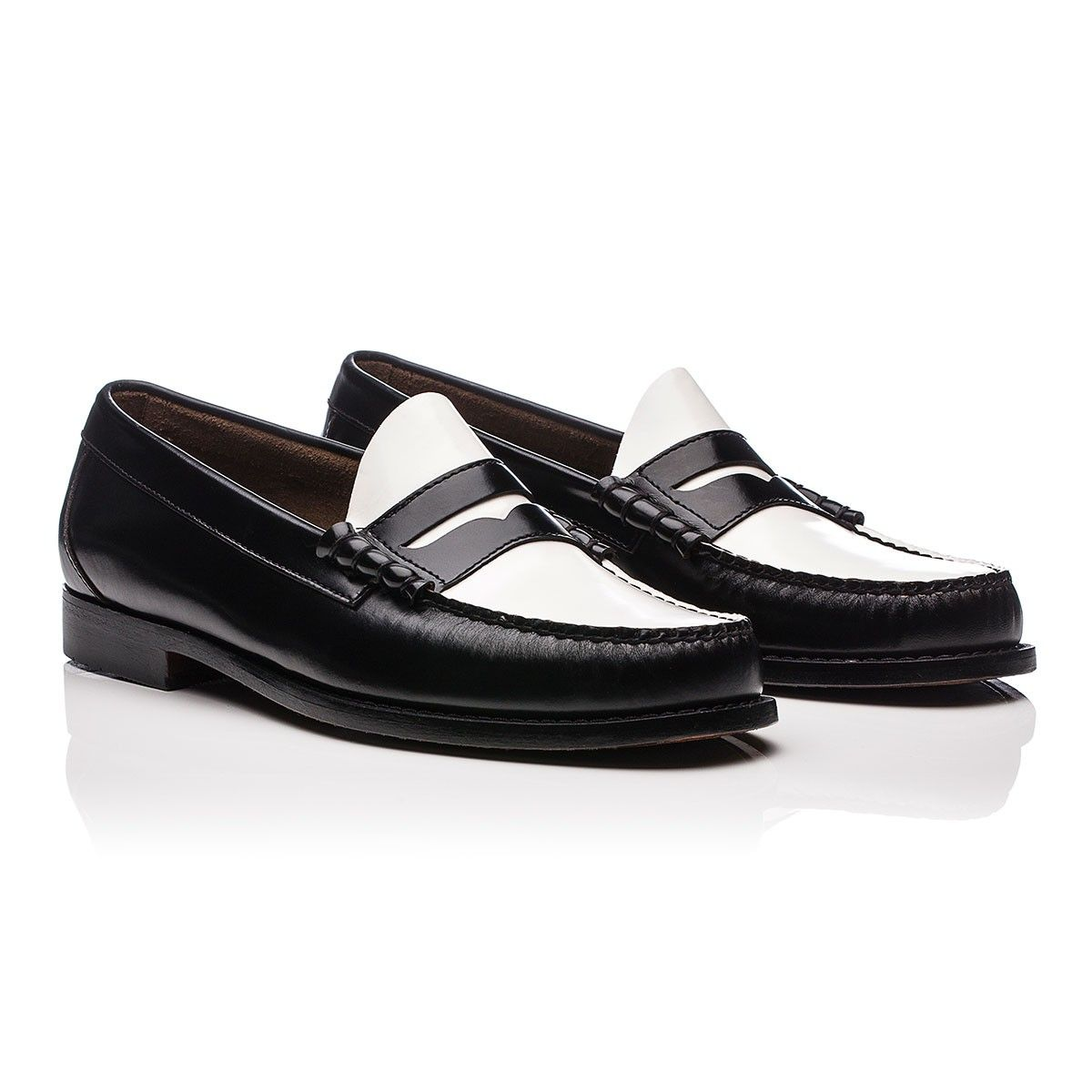 Weejuns Larson Penny Loafers Black & White Leather - Bass Weejuns - Men More