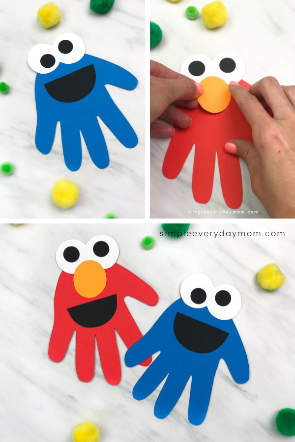 Handprint Cookie Monster & Elmo Craft For Kids is part of Arts and crafts for kids easy, Sesame street crafts, Easy arts and crafts, Easy childrens crafts, Daycare crafts, Preschool art activities - Learn how to make this handprint Cookie Monster & Elmo craft for kids in preschool and kindergarten  It doubles as a fun activity for a Sesame Street party!