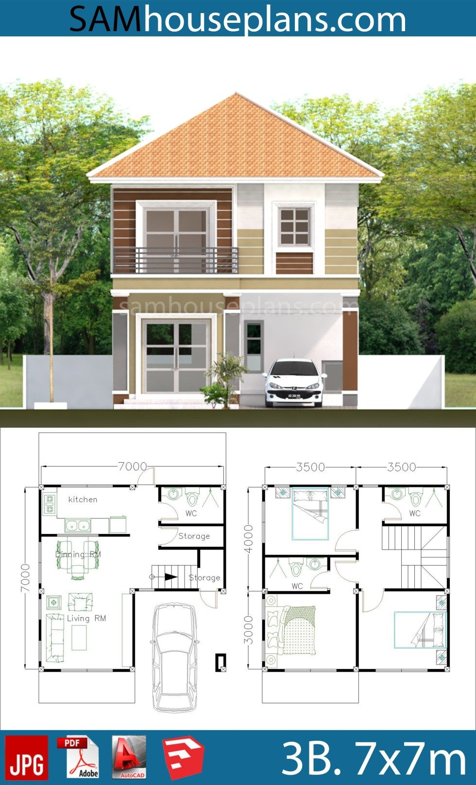 House Plans 7x7m with 3 Bedrooms | My house plans ...