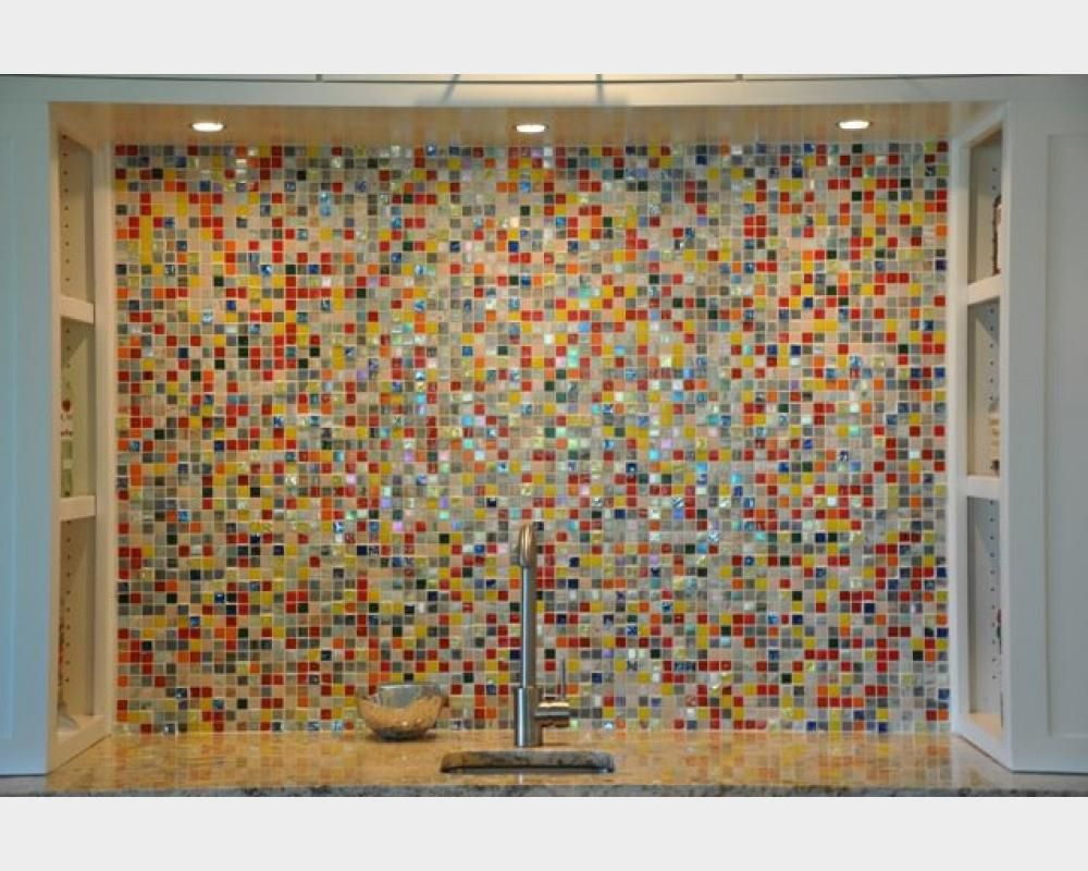 multicolored glass tile backsplash - Google Search | Kitchen | Pinterest