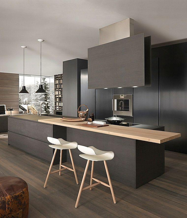 modèle de cuisine noire et décoration chaleureuse avec plan ...