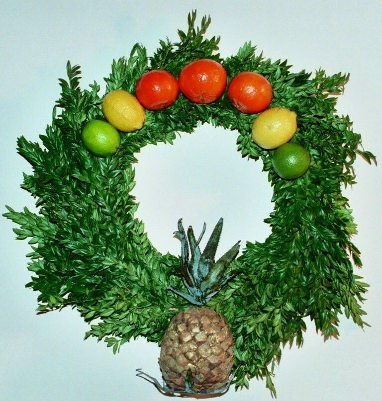 Della Robbia Wreath With Pineapple Symbol Of Hospitality Oranges