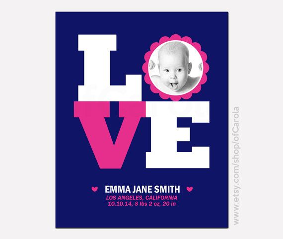 Birth Announcement Wall Art Name Print Personalized by ofCarola, $12.00