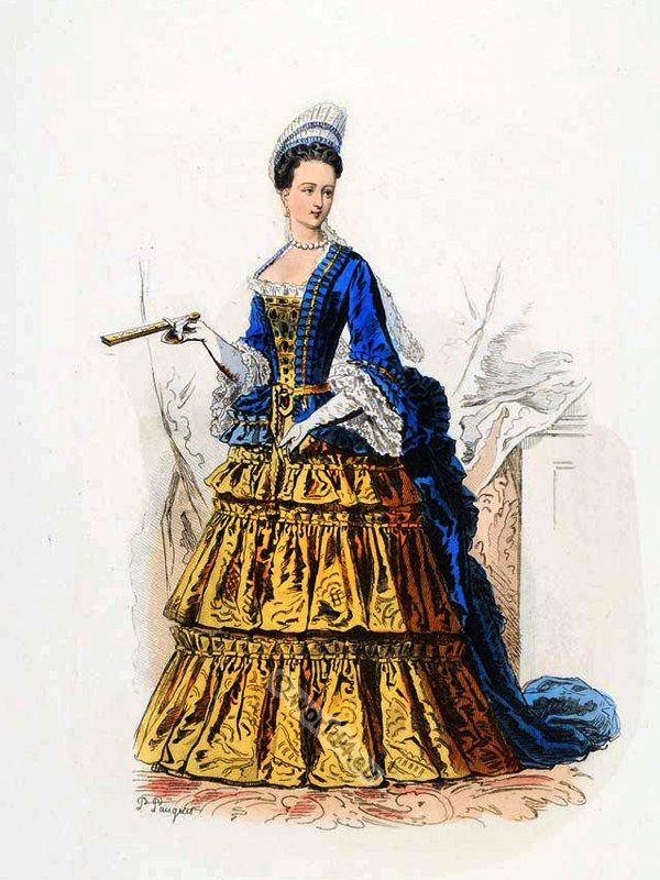French 17th Century Court Dress In Versailles Anne Marie