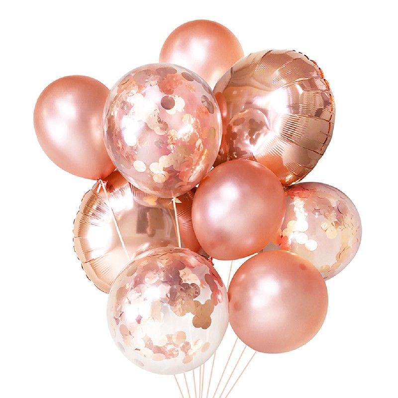 Rose Gold Star Confetti Filled Balloon Helium Birthday Party Wedding Decoration