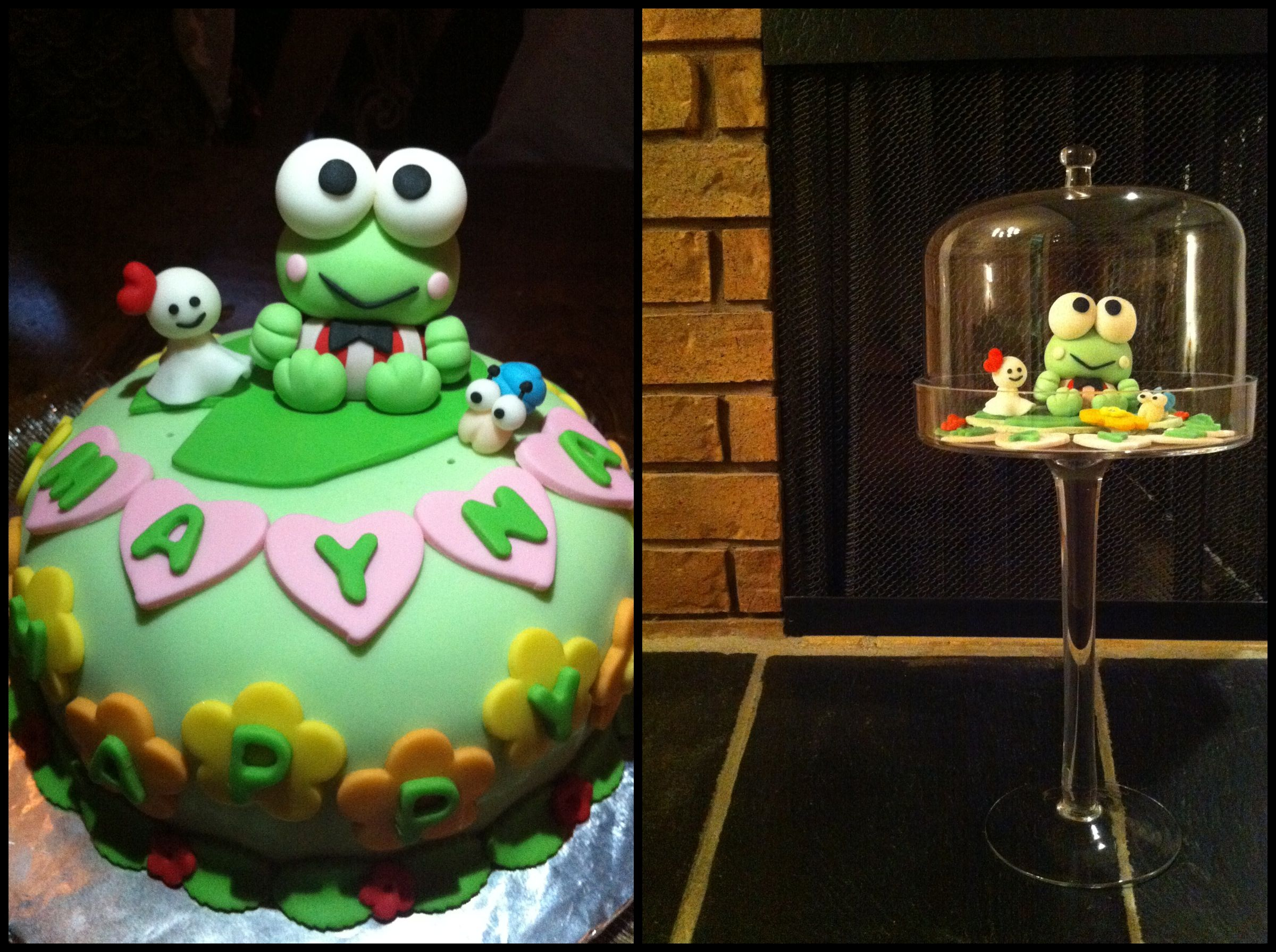 Keroppi Fondant In A Glass Cake Stand Makes For Displaying