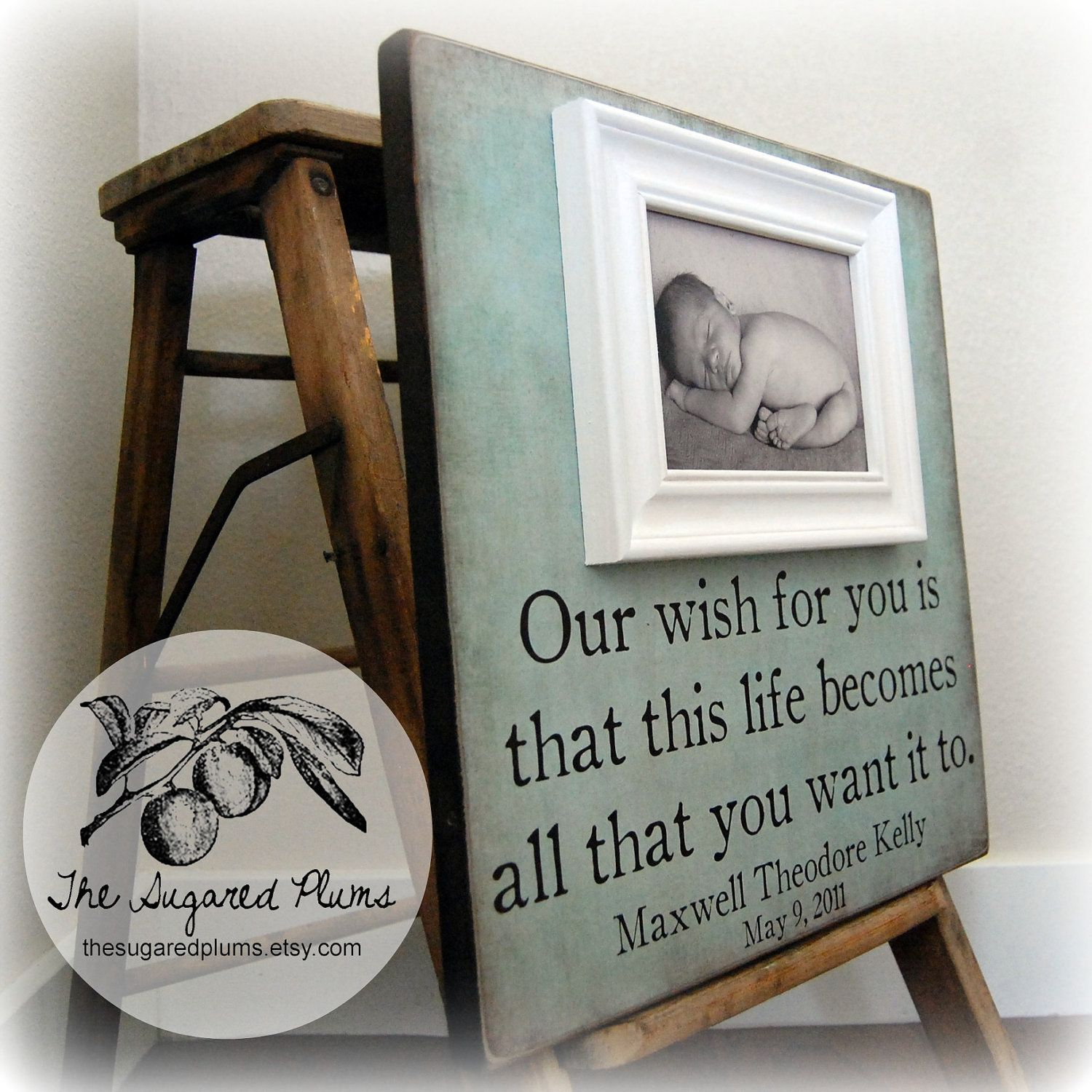 FIRST BIRTHDAY GIFT For Baby Personalized Custom Picture Frame 16x16 Our Wish You Baptism Christening First Birthday Godparents