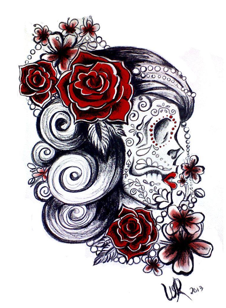 sugar skull tattoo design tattoos pinterest sugar skull tattoos sugar skulls and tattoo. Black Bedroom Furniture Sets. Home Design Ideas