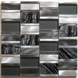 Dalle mosaique aluminium et verre carrelage cuisine crédence ceti ...