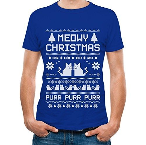 printed tee shirt design meowy christmas ugly sweater cute xmas party t shirt circle