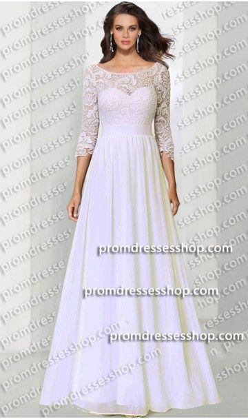 834e75cdf0c fabulous three quarter length sleeves lace chiffon long evening dress