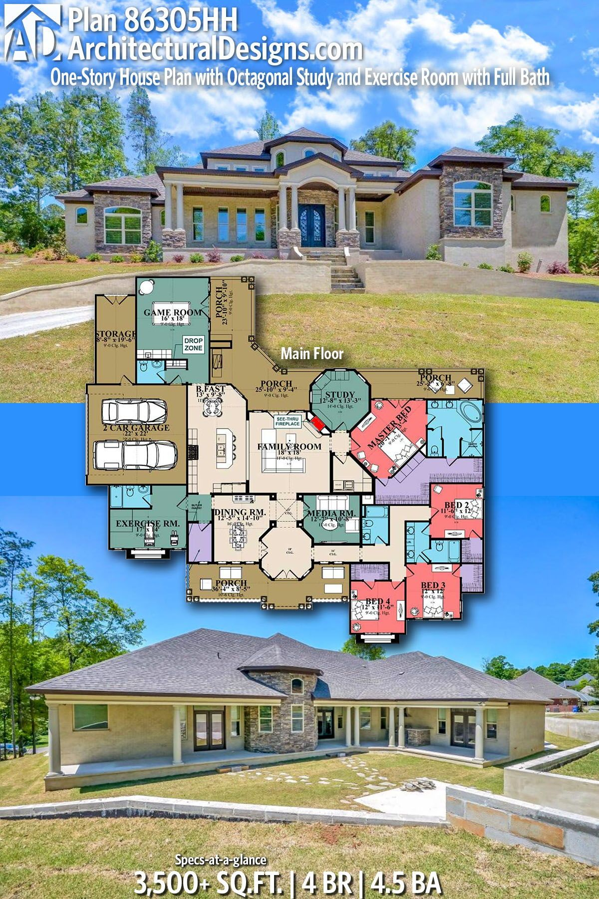 Plan 86305hh One Story House Plan With Octagonal Study And Exercise Room With Full Bath Architectural Design House Plans Courtyard House Plans Dream House Plans