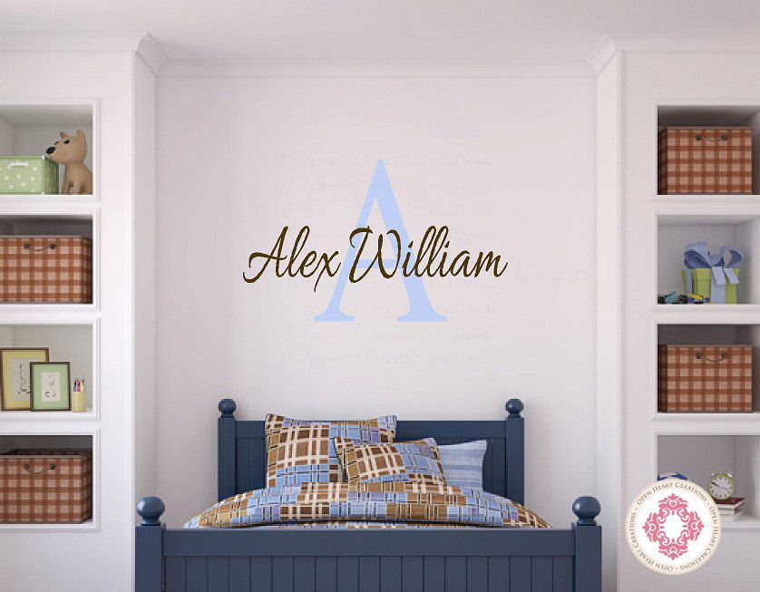 New Monogram Vinyl Wall Decal Personalized Baby Boy or Girl Wall Decal for Baby Nursery Room Photos - Luxury baby room decals Luxury