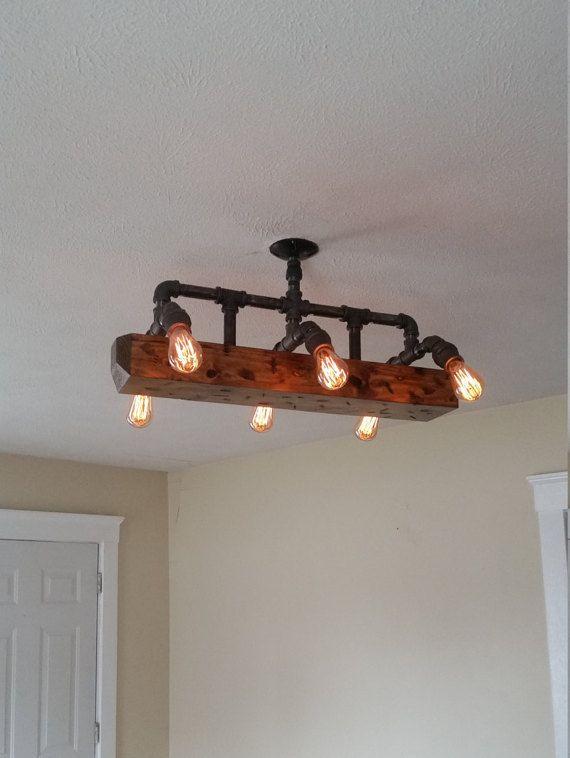 Wood Beam Light Chandelier Industrial Pipe Lighting