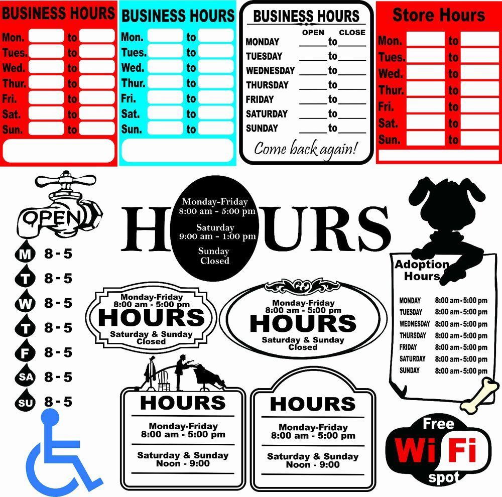 Business Hours Sign Template Free Best Of 52 Business Hours Sign Templates Vector Clipart For Vinyl Business Hours Sign Sign Templates Small Business Signs Business hours sign template free
