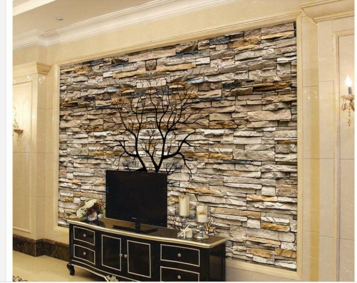 Eine Natursteinwand In Brauner Und Weißer Farbe, Eine Dekoration Wie Baum