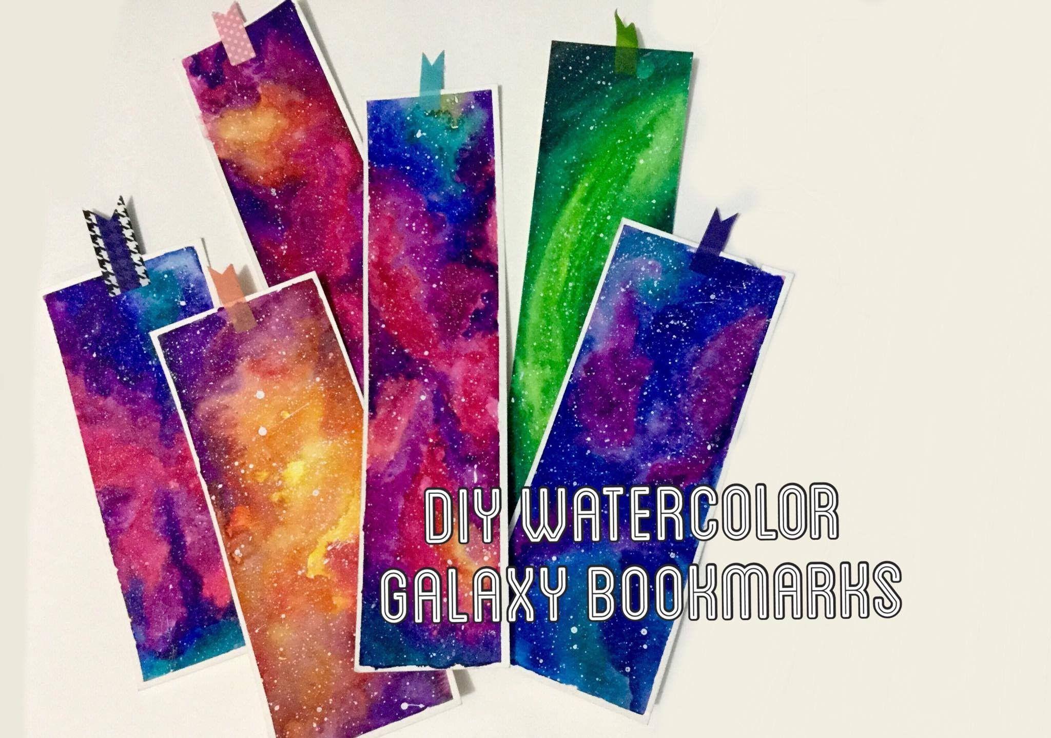 Diy Watercolor Galaxy Bookmarks Watercolor Galaxy Diy Watercolor