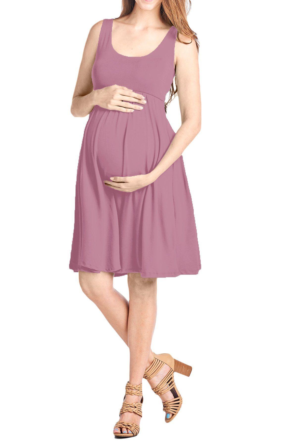 b4db295f1df06 Maternity Styles - beautiful maternity dresses : Beachcoco Womens Maternity  Knee Length Tank Dress L Plum Pink ** Click photo for more information.