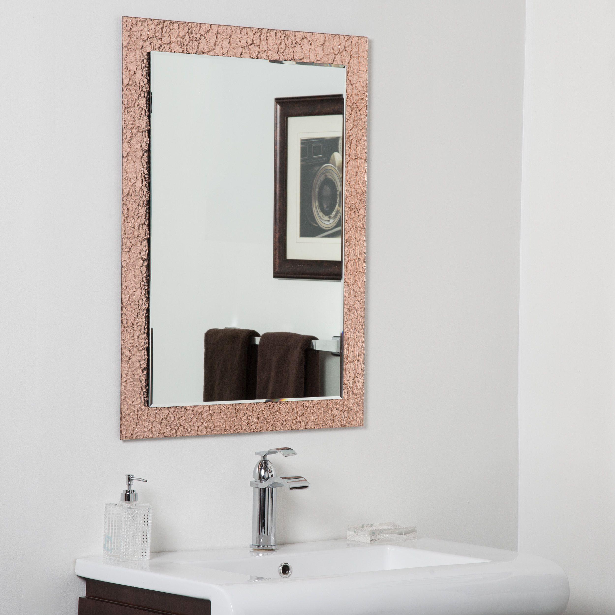 Copper Brown Leaf Modern Bathroom Mirror